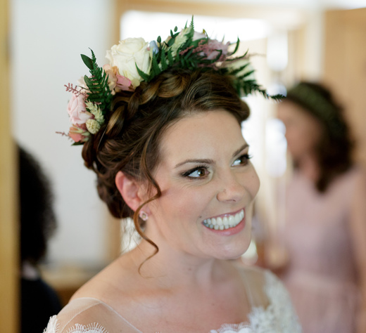 bridal hairstyle summer wedding bridal hair up low bun london Pam Wrigley natural makeup bridal makeup artist braids flower crown flowers berkshire