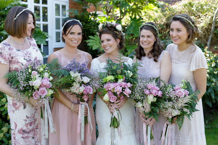 bridesmaids summer wedding bridal hair up low bun london Pam Wrigley natural makeup bridal makeup artist braids flower crown flowers pink berkshire
