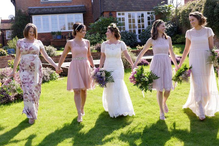 braids wedding hairstyles summer wedding bridal hair up low bun london Pam Wrigley natural makeup bridal makeup artist braids flower crown flowers pink garden