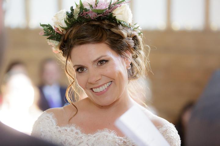 summer wedding bridal hair up low bun london Pam Wrigley natural makeup bridal makeup artist braids flower crown
