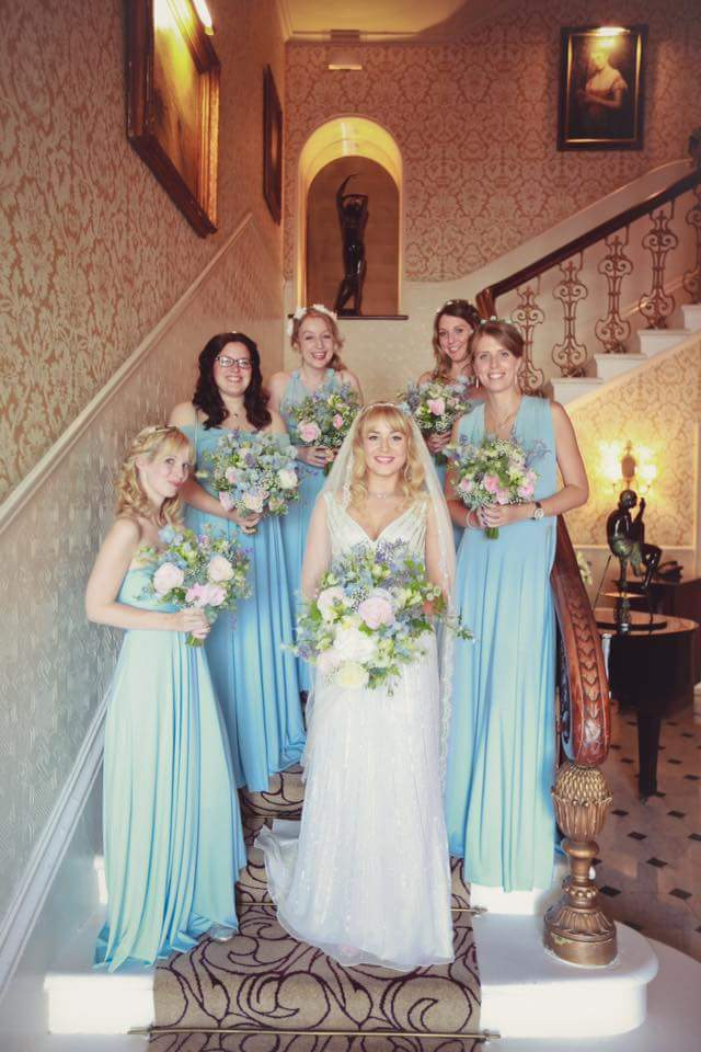 flowers bridesmaid wedding planning bridal hairstylist beautiful bride natural makeup by Pam Wrigley bridal hairstyle hair down style richmond