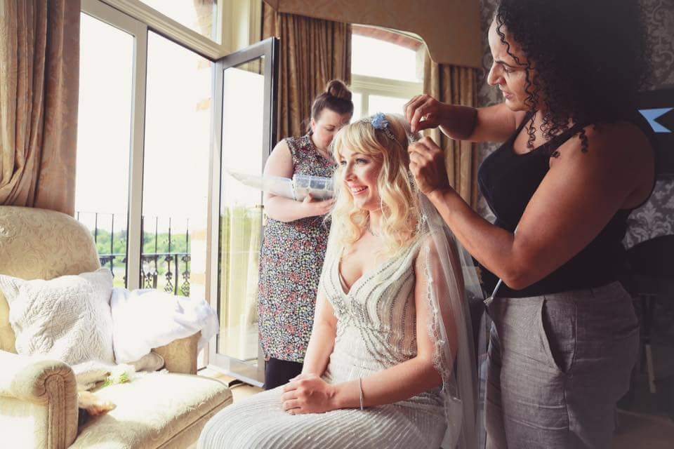bridal hairstyle flowers bridesmaid bridal hairstylist beautiful bride natural makeup by Pam Wrigley bridal hairstyle hair down style richmond