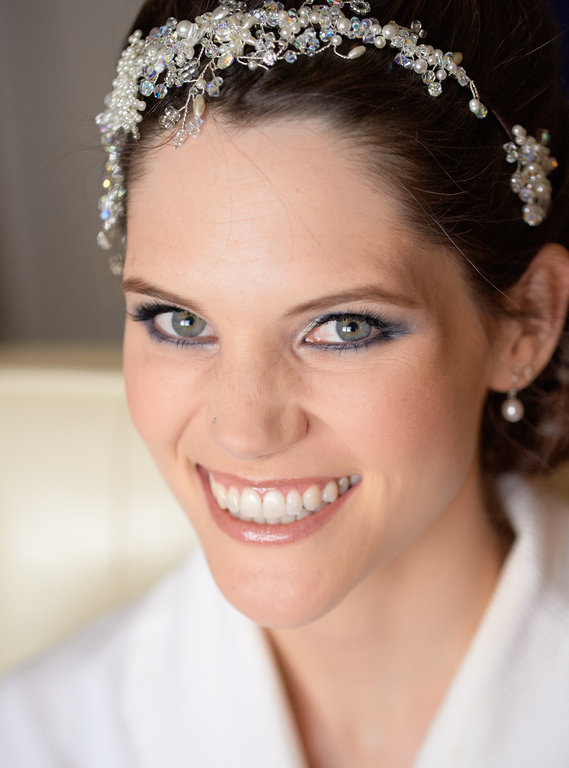 Beautiful smokey bridal makeup and wedding hair style by Pam Wrigley, wedding makeup artist and bridal hair stylist in Hampshire.
