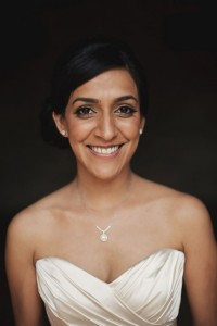 Wedding natural makeup and bridal hair in a soft low bun hairstyle for Asian bride. By Pam Wrigley wedding makeup artist and bridal hair stylist, London.