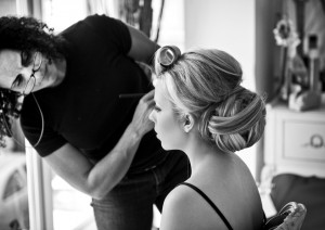 makeup. Wedding smokey makeup and bridal hair in a low bun hairstyle for bride with extensions. By Pam Wrigley wedding makeup artist and bridal hair stylist, London.