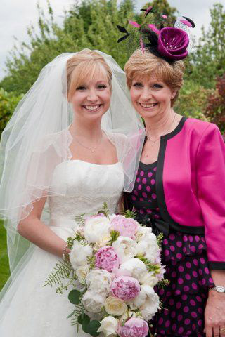 Wedding natural makeup and bridal hair in a soft low bun hairstyle for bride and mother of the bride. By Pam Wrigley wedding makeup artist and bridal hair stylist, London.