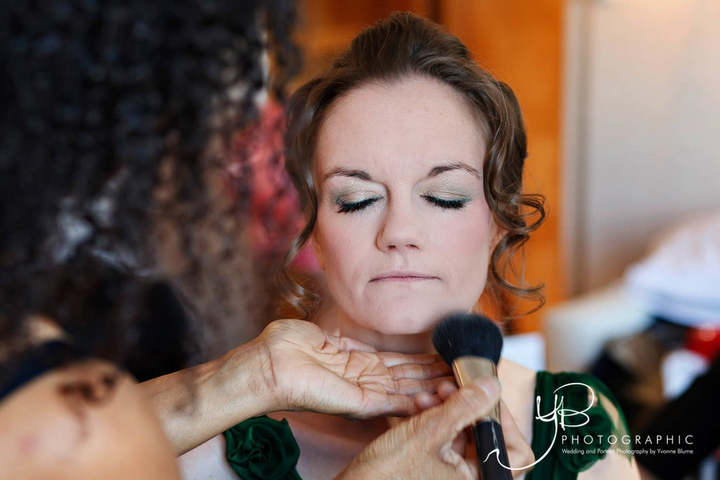 DIY wedding hair. Natural bridal makeup and bridal low bun hairstyles for mature brides with medium length hair. Plus makeup by wedding makeup artist and bridal hair stylist Pam Wrigley in London.