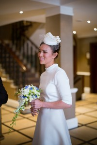 Vintage and natural bridal makeup and bridal low bun hairstyles for Asian, Chinese brides with medium length hair. Plus makeup by wedding makeup artist and bridal hair stylist Pam Wrigley in London