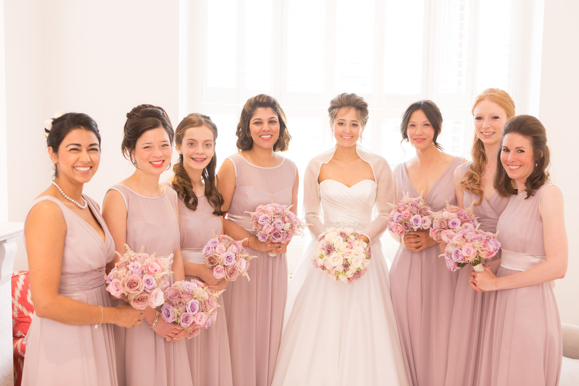 wedding day schedule. Bridal makeup and hair for a bride and bridesmaids. Plus bridal hairstyles for brides with long hair by wedding makeup artist and bridal hair stylist Pam Wrigley in London