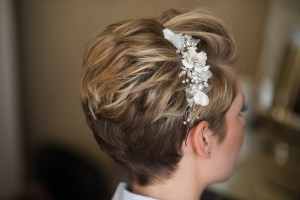 Natural bridal makeup and hair down bridal hairstyles for brides with short hair. Plus makeup by wedding makeup artist and bridal hair stylist Pam Wrigley in London.