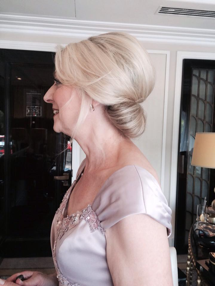 Vintage bridal hair & makeup. Low bun bridal hairstyle & smokey makeup for mother of the bride by Pam Wrigley, wedding makeup artist and bridal hairstylist in London.