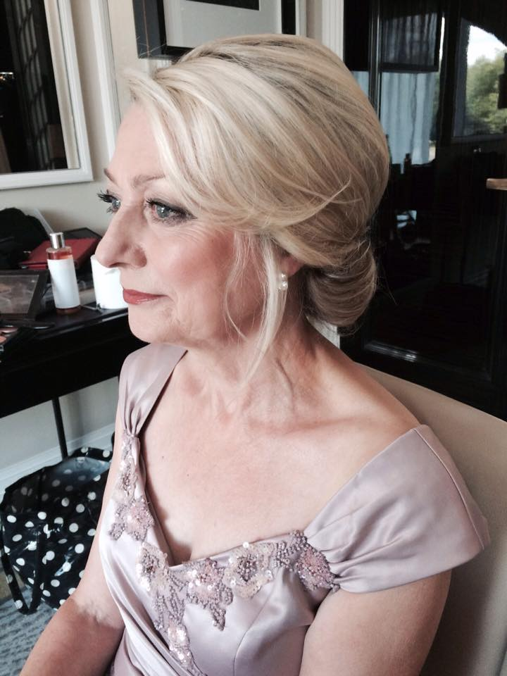 vintage low bun bridal hairstyle & smokey makeup for mother of the bride by Pam Wrigley, wedding makeup artist and bridal hairstylist in London.