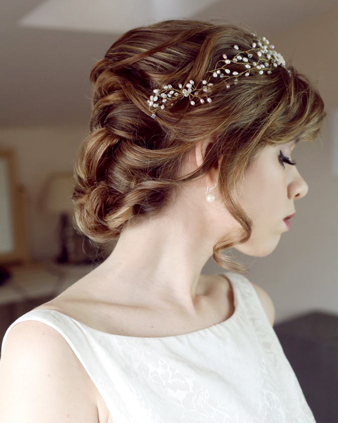 short bridal hairstyles for brides with short hair by wedding makeup artist and bridal hair stylist Pam Wrigley