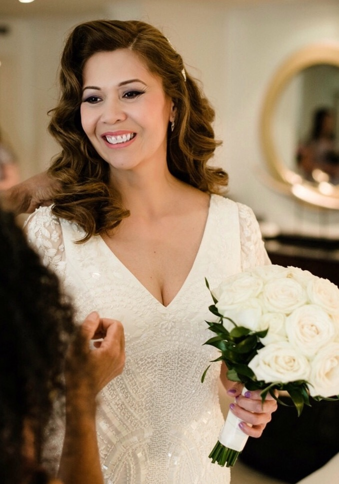 bridal hairstyle beautiful mature bride wedding natural makeup by Pam Wrigley bridal hairstyle hair down style waves curls