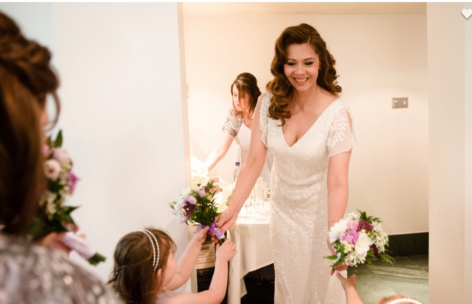 summer wedding beautiful mature bride wedding natural makeup by Pam Wrigley bridal hairstyle hair down style