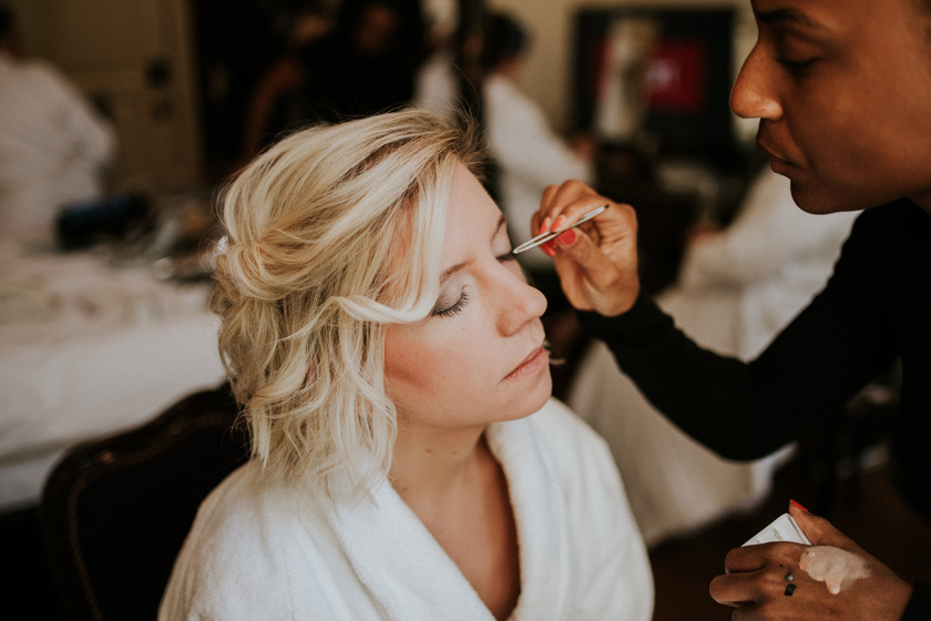 wedding makeup and bride hair style by Akua and akua lashes bridal hair stylist Surrey London make-up artist