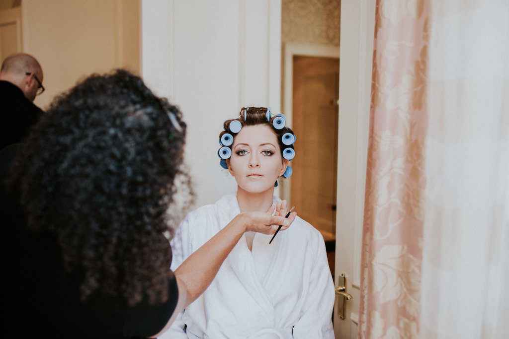 summer autumn wedding makeup and hair by bridal hairstylist wedding makeup artist Pam Wrigley London kensington hotel smokey make-up