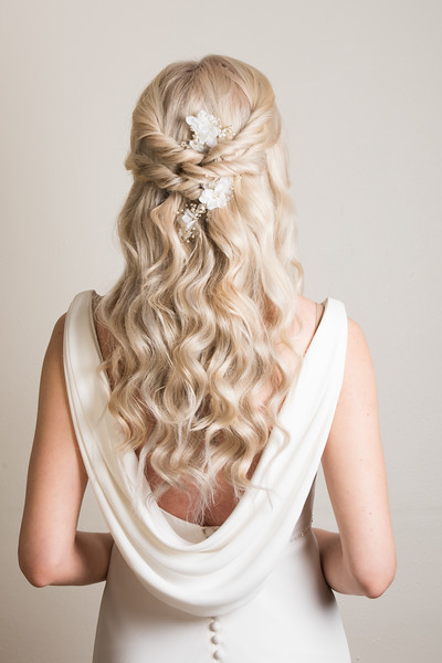 bridal hairstyle hair up beachy waves braids wedding summer wedding