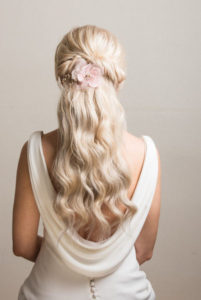 long thick heavy hair bridal hairstyle and wedding makeup by Pam Wrigley soft natural curls and braids