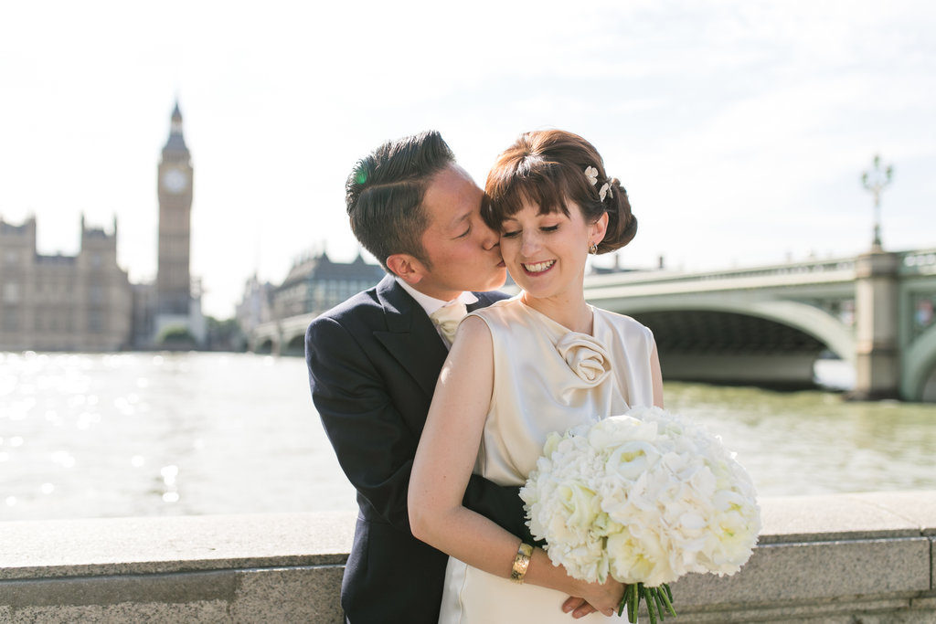 bridal low bun braid London Pam Wrigley hairstyle wedding makeup flowers London savoy hotel