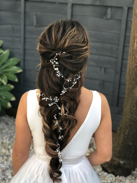 bridal hairstyles for long thick heavy hair working with extensions and creating braids and braided wedding hairstyles by Pam Wrigley