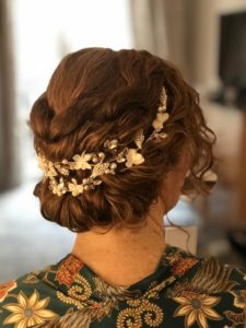 bridal low bun braid London Pam Wrigley hairstyle natural curls hair-up