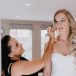 wedding braided mermaid hairstyle and smoky bridal makeup by Pam Wrigley London Surrey