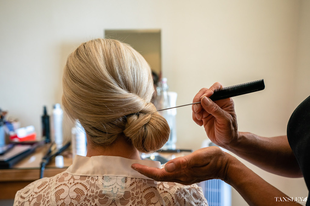 ow bun wedding bridal hair natural makeup Farnham castle