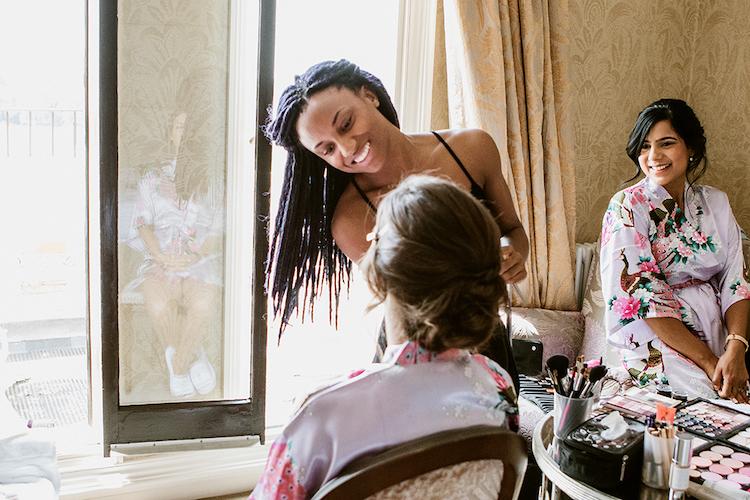 hair extensions wedding braided mermaid hairstyle and smoky bridal makeup by Akua London Surrey natural wedding makeup