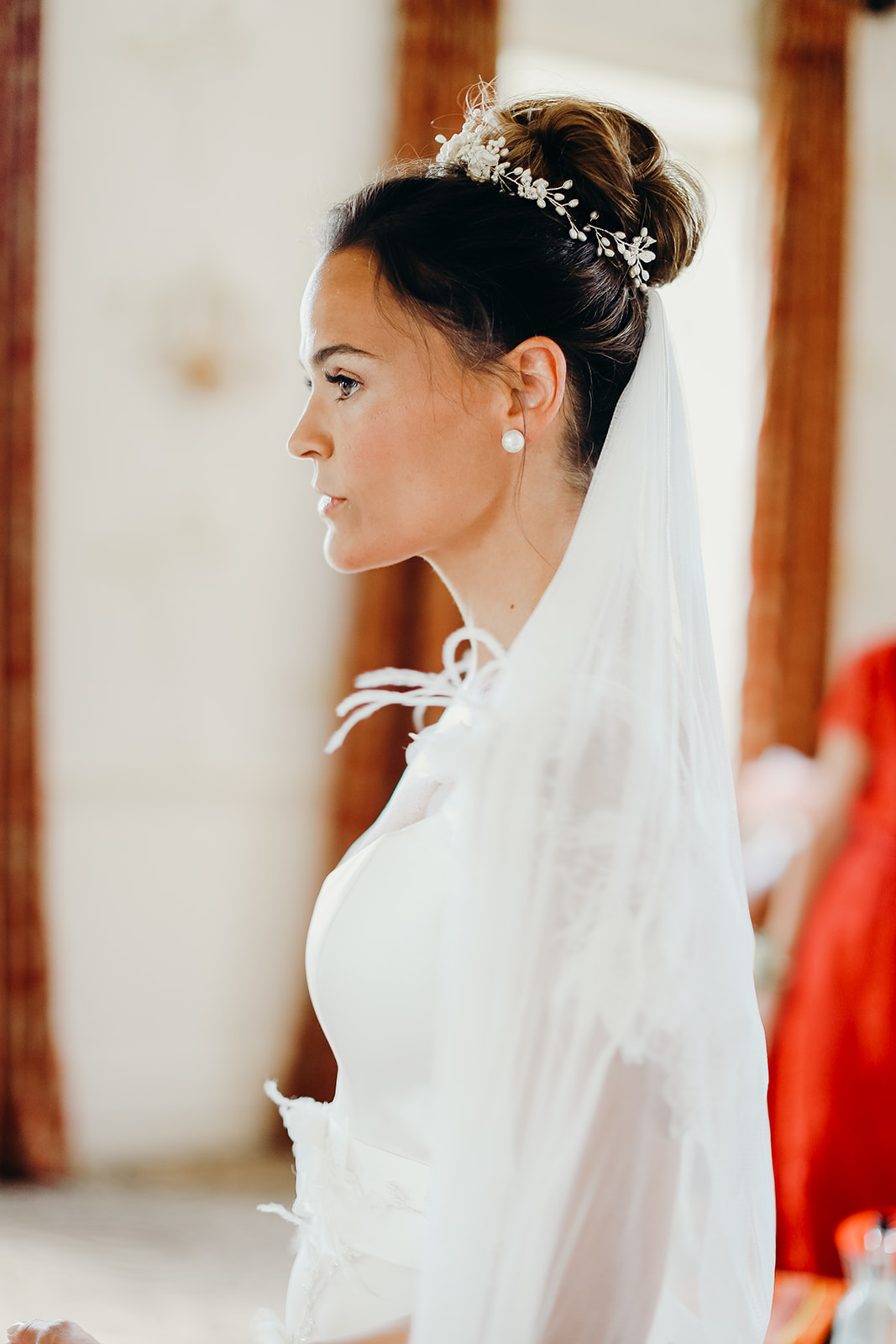 high bun wedding hairstyle natural dewy bridal makeup London Surrey Berkshire