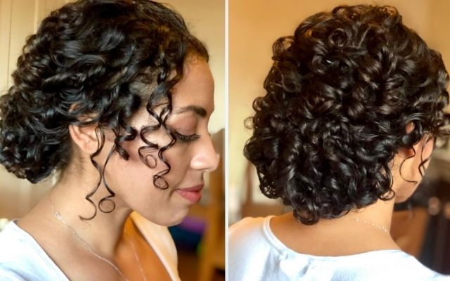 bridal hair style for natural curly hair and curly girl hairstyles for the wedding day