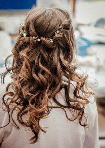 beachy waves wedding hairstyle with braids by Pam Wrigley