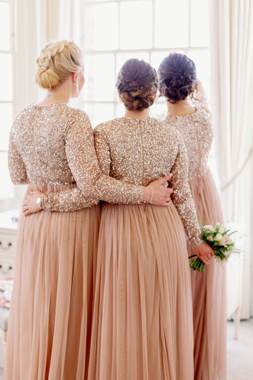 bridal low bun hair styles and wedding hairstyle for bridesmaids by Pam Wrigley at Hedsor House